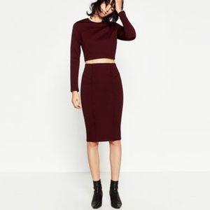 Zara maroon pencil midi skirt